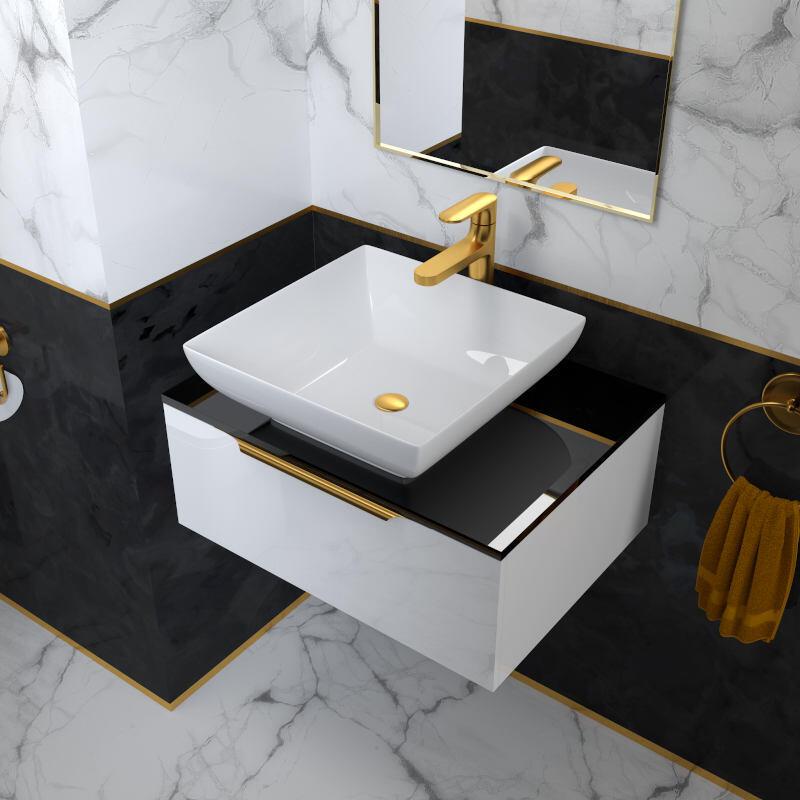 600 White Vanity Unit with Black Glass Worktop