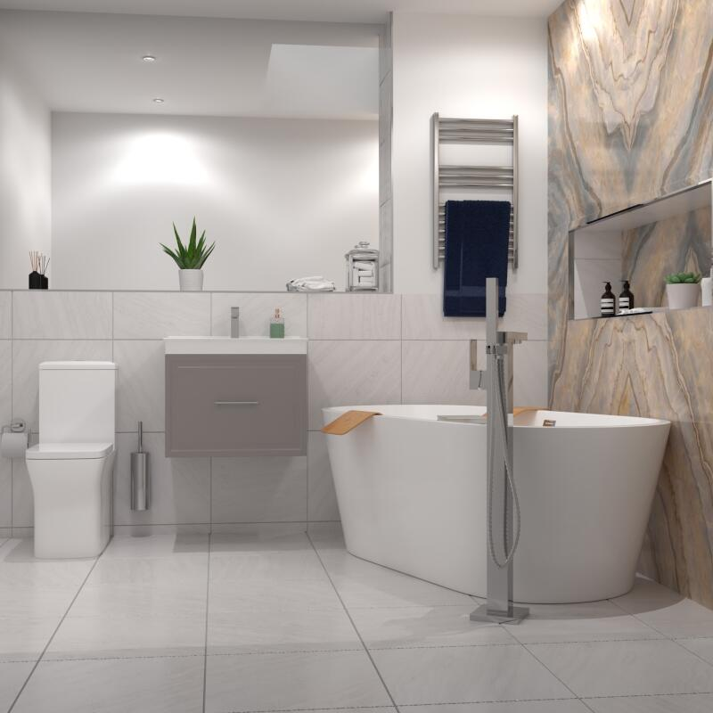 Chester Suite: Vanity Unit (Chrome Handles), Toilet and Bath