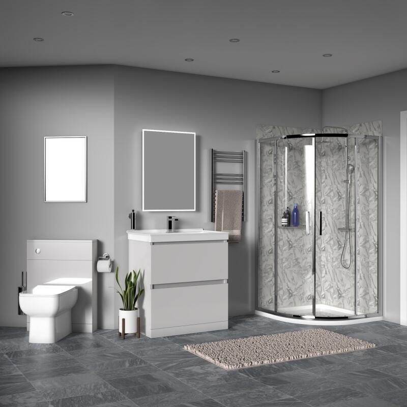 Ashford 800 Shower Suite: Vanity Unit, BTW Toilet, Quadrant Shower Enclosure