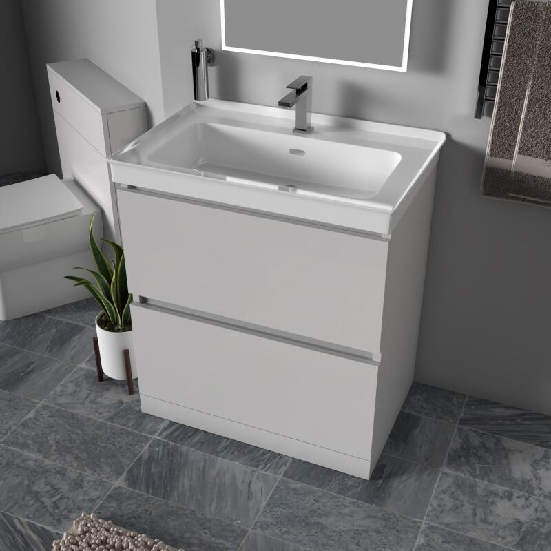 Ashford 800 Unit: 2 Drwr, Floorstanding, Handleless, Pearl Grey