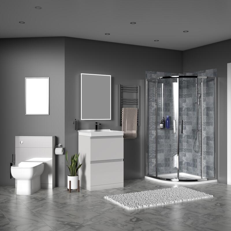 Ashford 600 Shower Suite: Vanity Unit, BTW Toilet, Quadrant Shower Enclosure