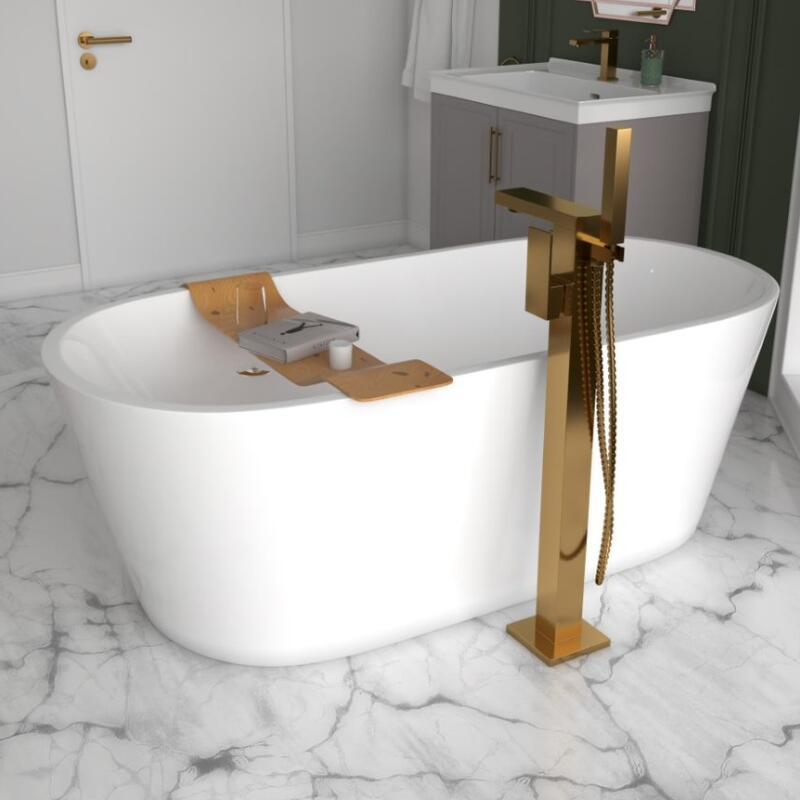 Floorstanding Bath Shower Mixer. Brushed Gold