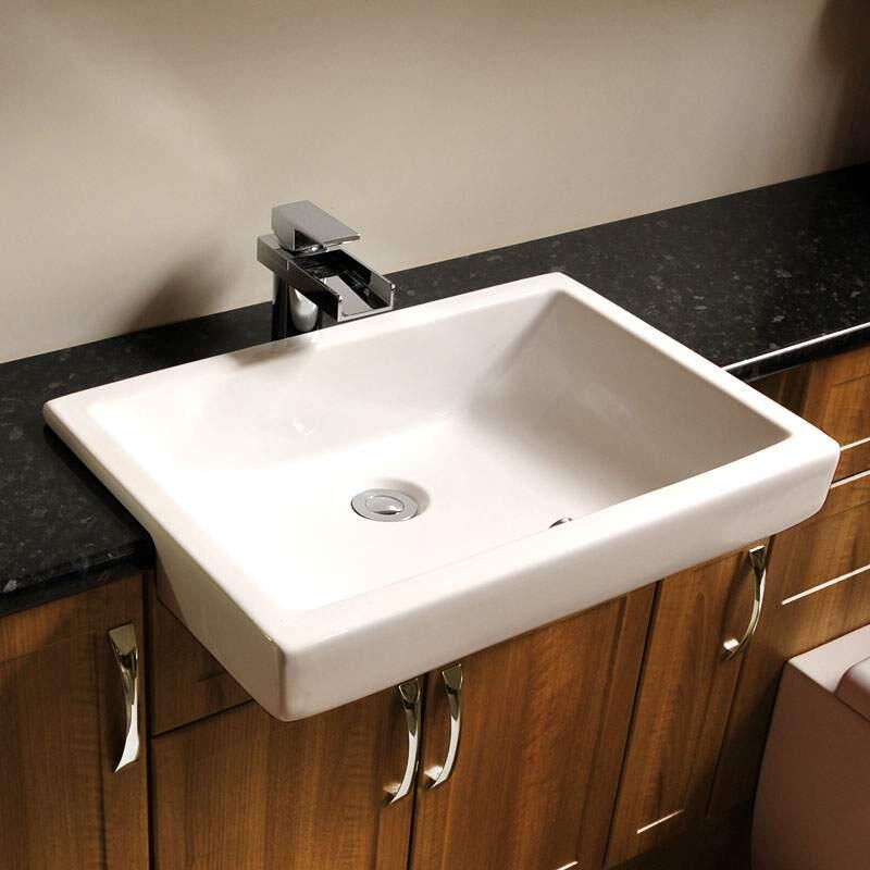 Titanio White Square Semi-Recessed Basin