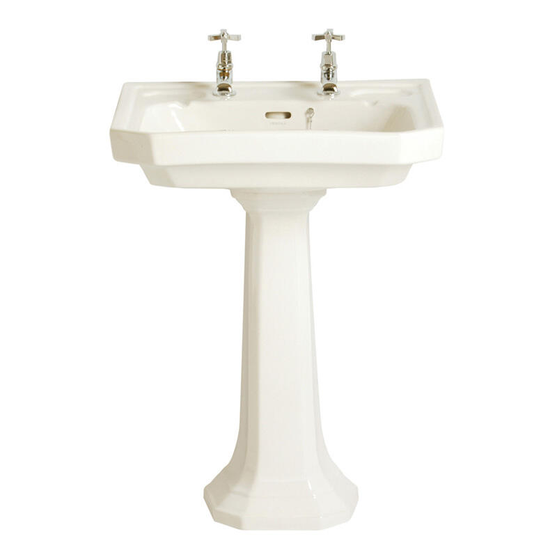 Granley Deco White Basin Standard 2 Tap and tall ped