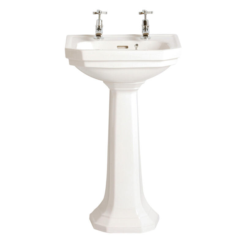 Granley Deco White Cloakroom Basin 2 tap and tall ped