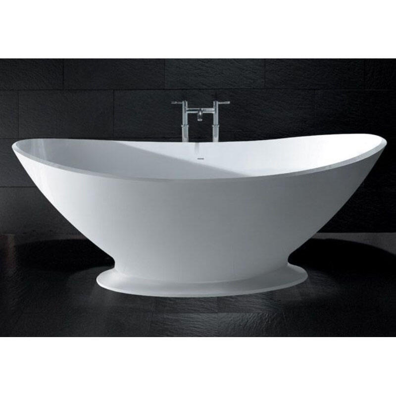 White Kurv Bath with Plinth and Integral Overflow