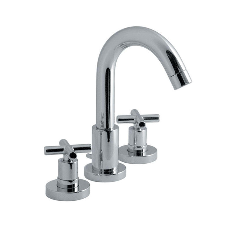 3 hole basin mixer deck mounted with pop-up waste