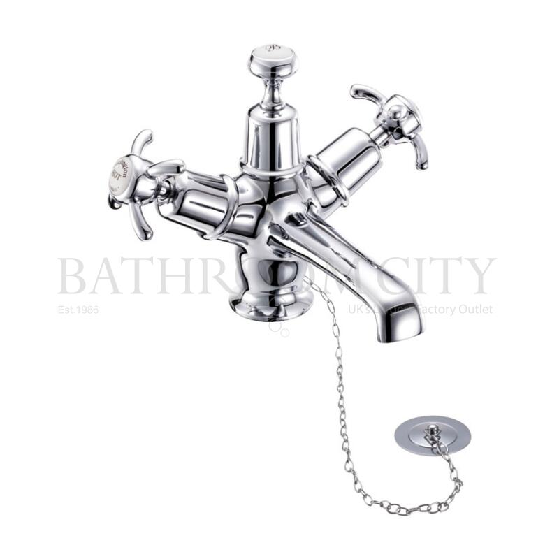 Anglesey Basin Mixer with high central indice with plug and chain waste