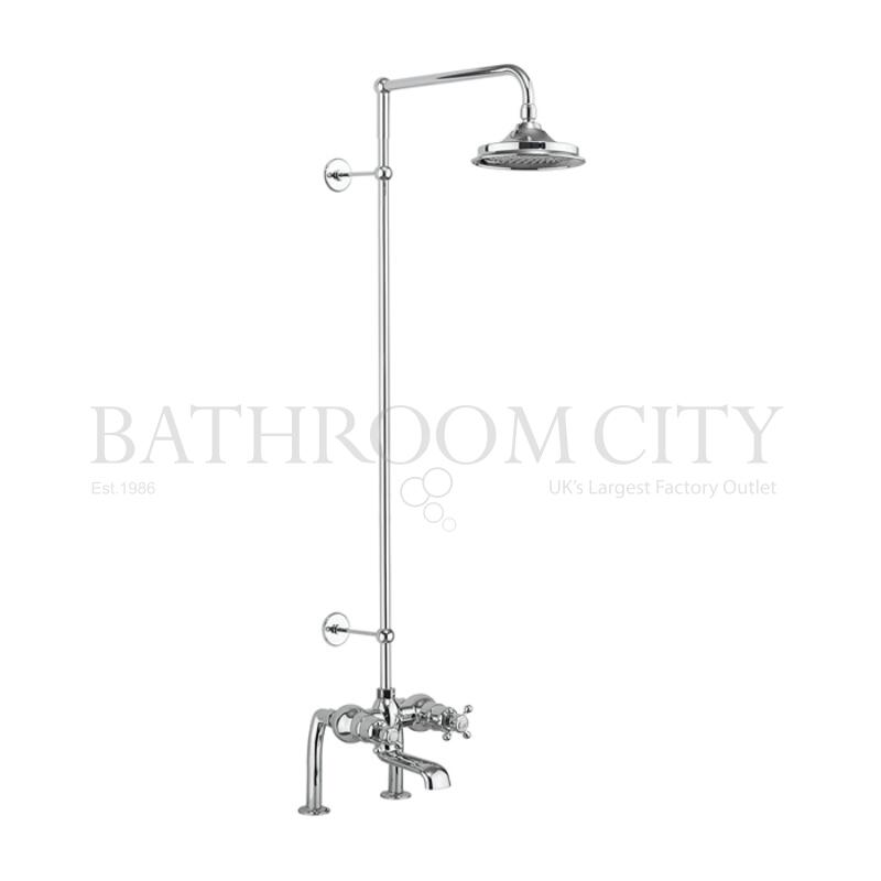 Tay Thermostatic Bath Shower Mixer Deck Mounted with Swivel Shower Arm (6 inch shower head)