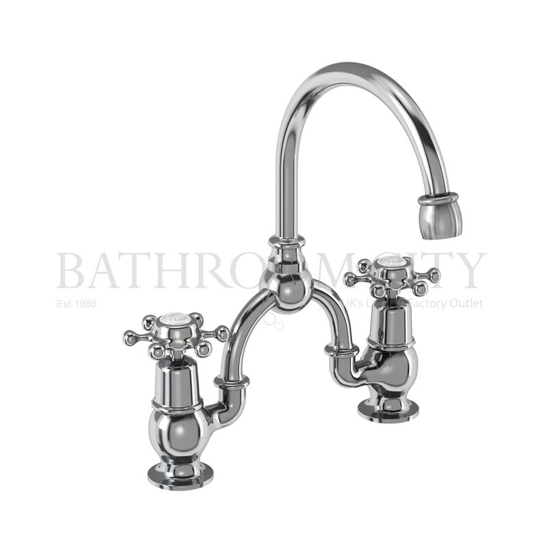Birkenhead Two tap hole arch mixer with curved spout (200mm centres)