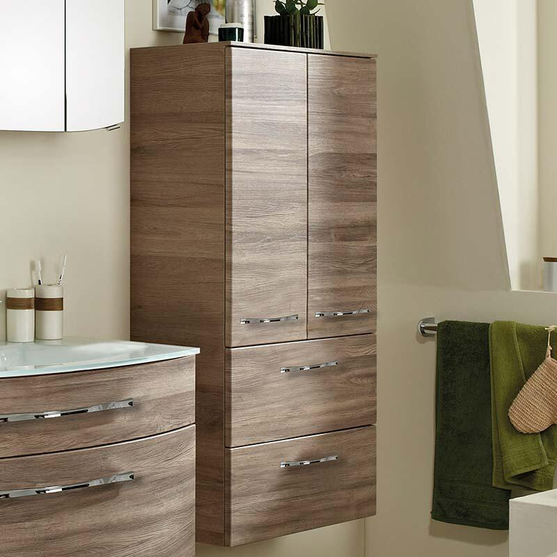 6001 Solitaire Wall Hung Double Tall boy Bathroom Storage 2 door 2 draw