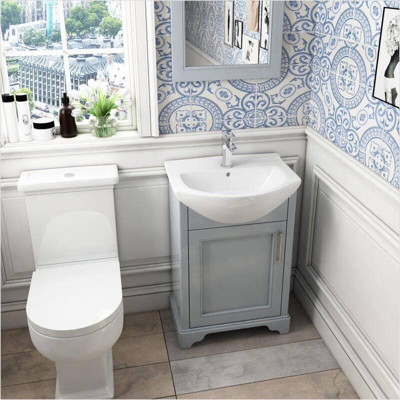 Old England 55 Small Bathroom Cloak Room basin and unit Dove Grey