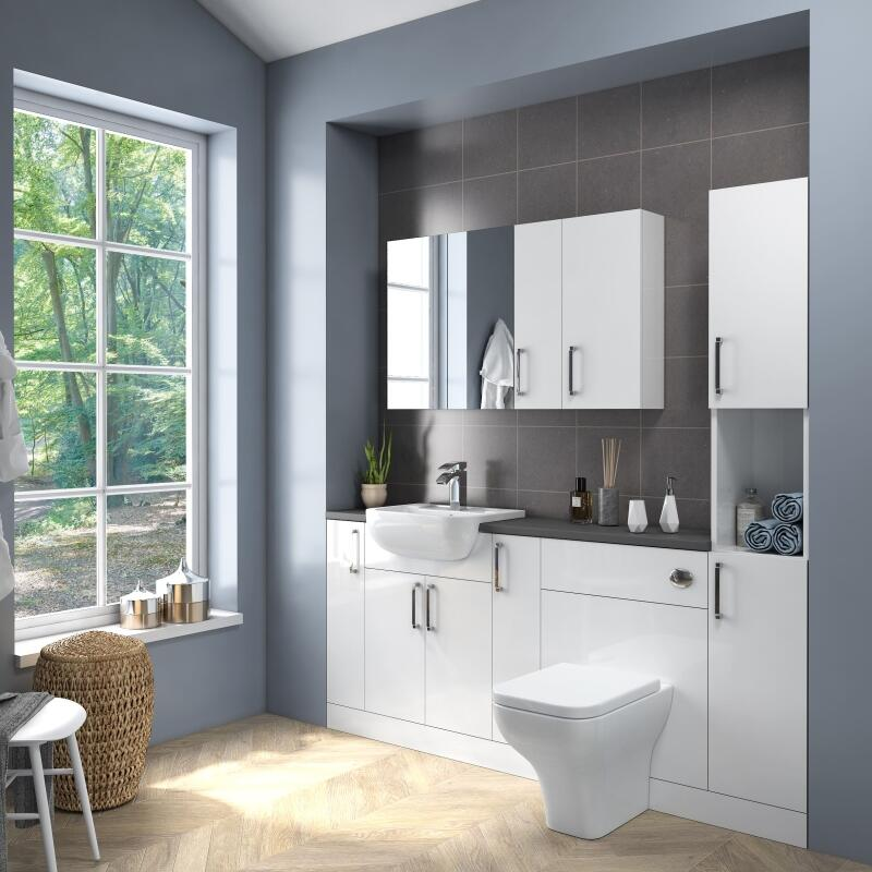 Fitted Suite w Mirror Cabinets: White
