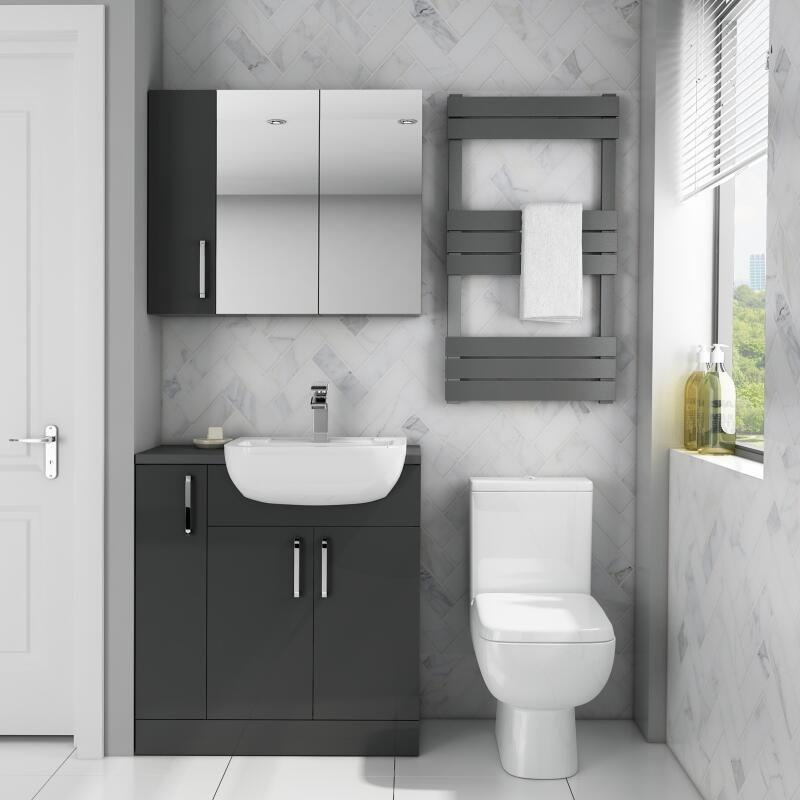 Fitted Suite w Mirror Cabinet: Anthracite