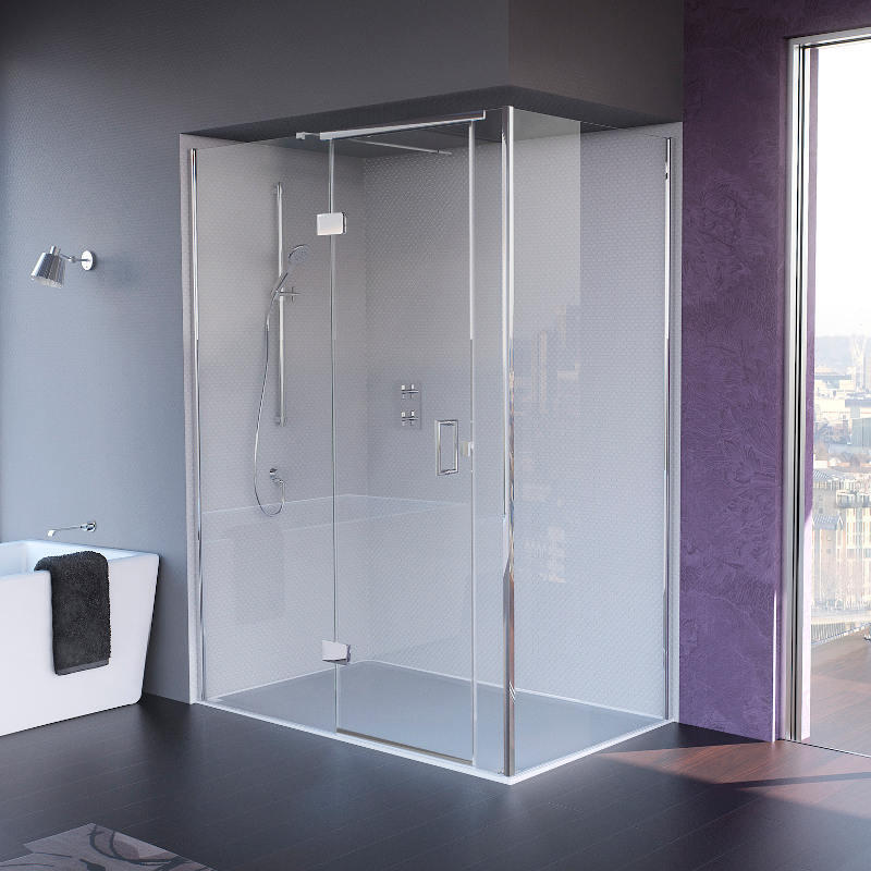 Illusion Shower Door with Tray - Left Hand Corner
