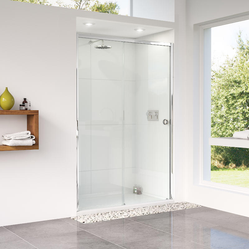 Sliding Shower Door with Tray - Right Hand Entrance