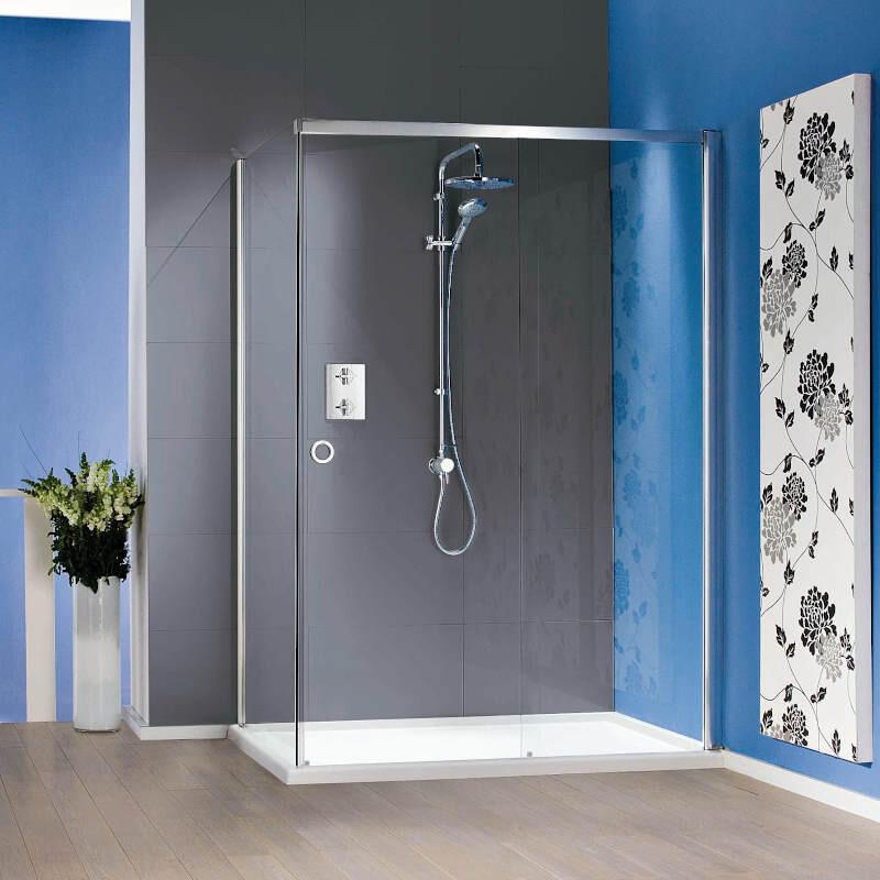 Sliding Shower Door with Tray - Left Hand Corner