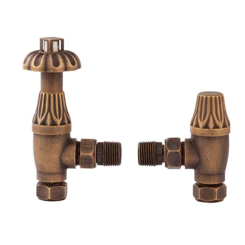 Antique Brass Angled Thermo Rad Valves & Lockshield