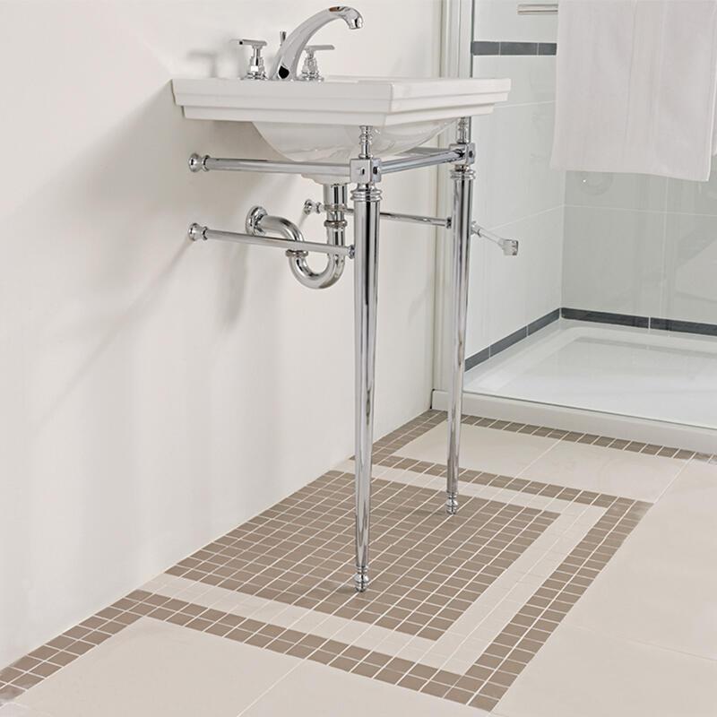 Astoria Deco Cloak Basin 520mm White 1TH with Cloak Basin Stand Chrome including Towel Rack