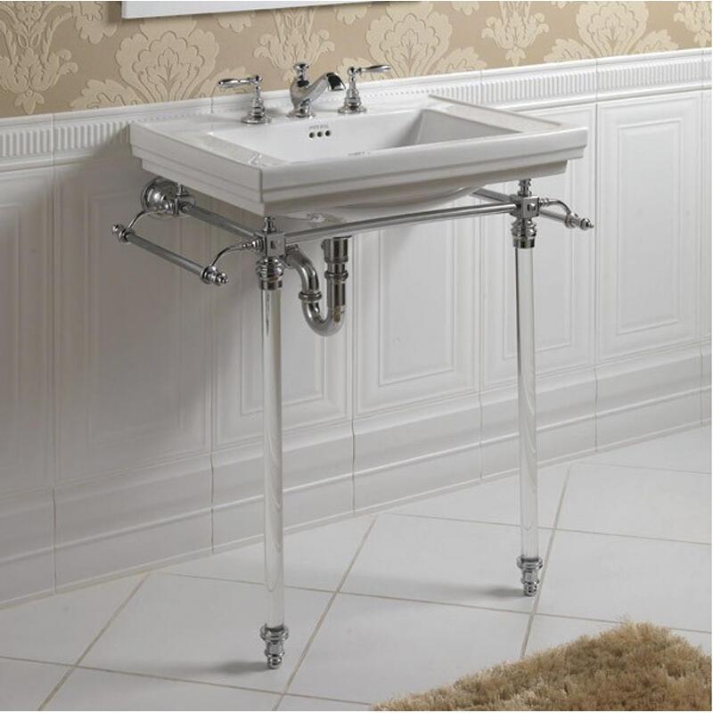 Astoria Deco Hardwick Astoria Deco Basin 640mm White 3TH with Hardwick Astoria Deco Basin Stand Chrome
