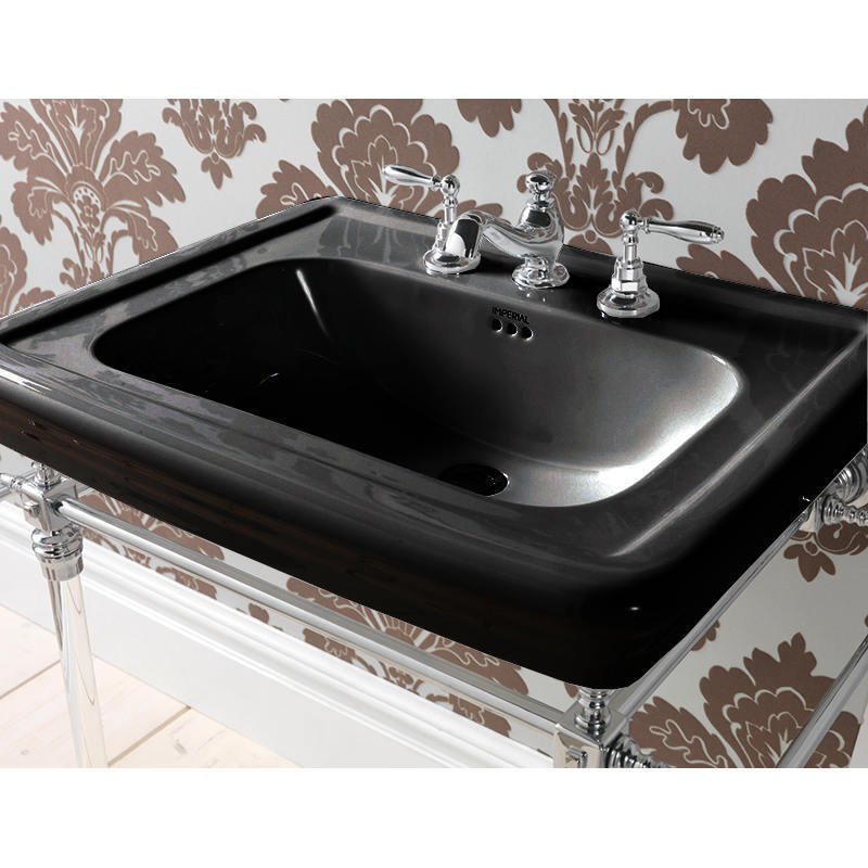 Large Basin 700mm 1TH Black with Etoile Harwick Basin Stand Chrome