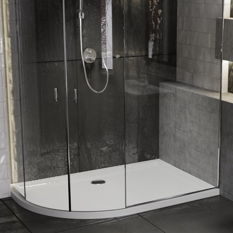 Offset Quadrant 1000x800 Slimline LH Resin Shower Tray
