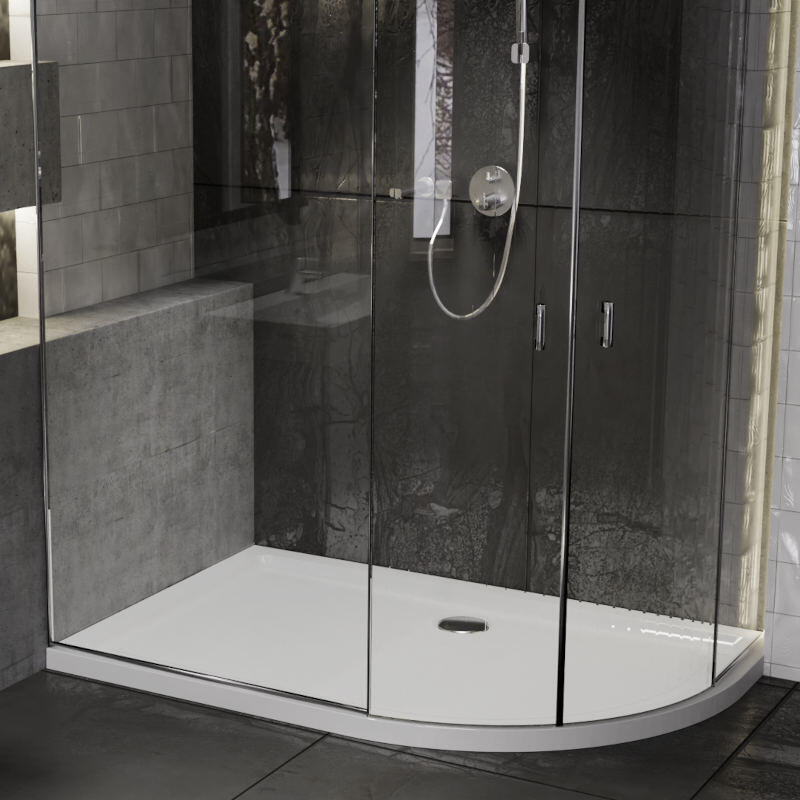 Offset Quadrant 1000x800 Easy Plumb Solid Resin Shower Tray with Legs & Plinth Kit
