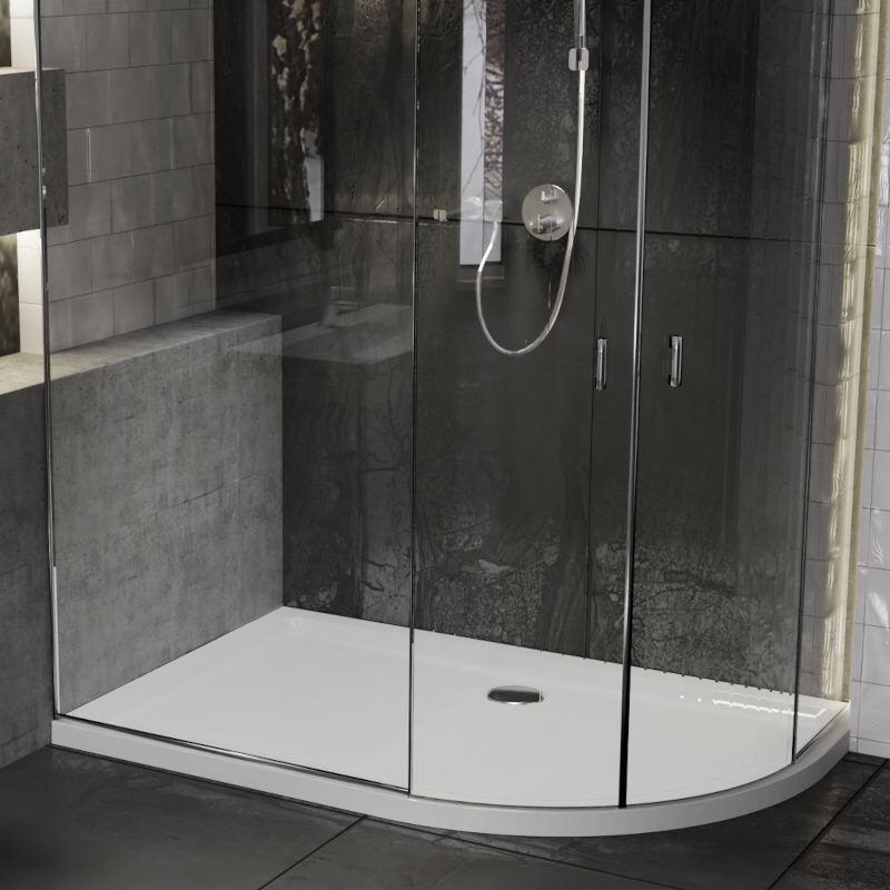 Offset Quadrant 1000x800 Slimline RH Stone Resin Shower Tray