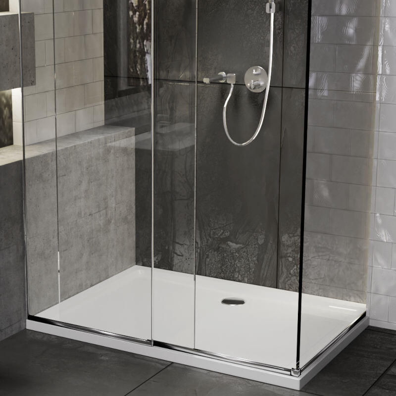 Rectangle 900x760 Easy Plumb Low Profile Resin Shower Tray with Legs & Plinth Kit