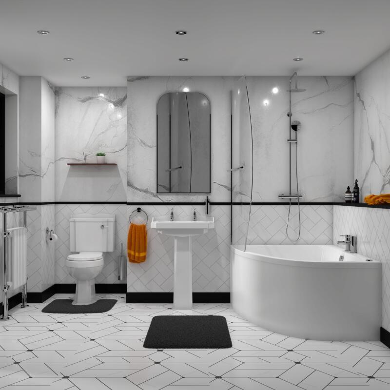 Suite: Corner Bath, Panel, Basin, Toilet