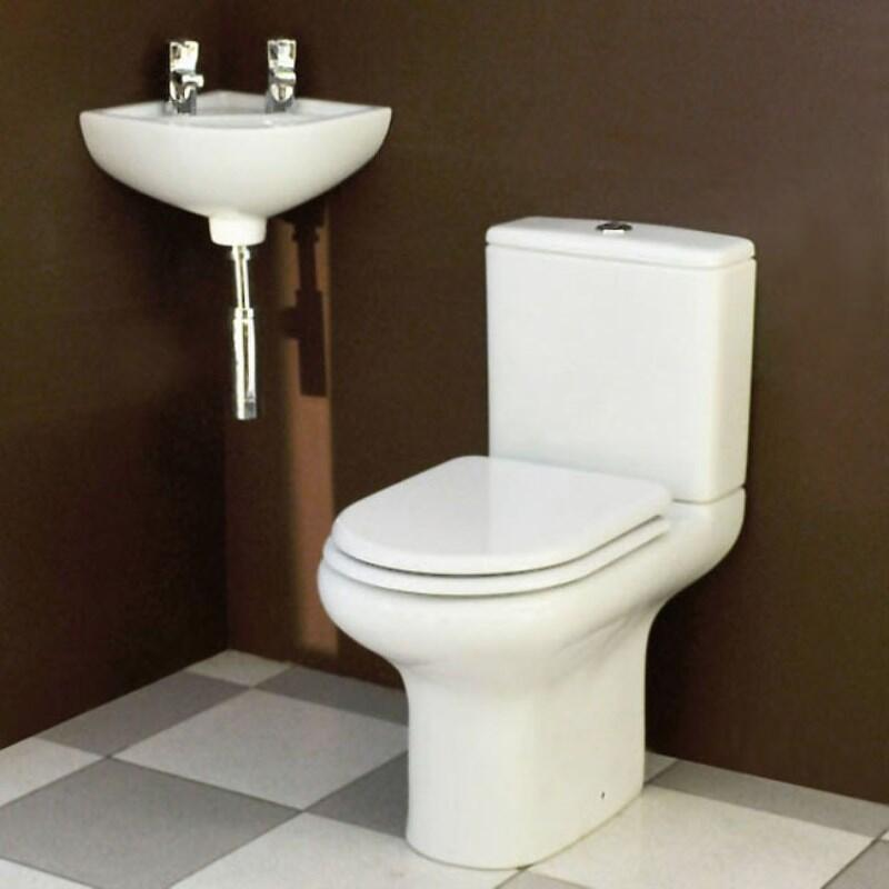 Corner Compact Cloakroom Suite with Soft Close Toilet Seat