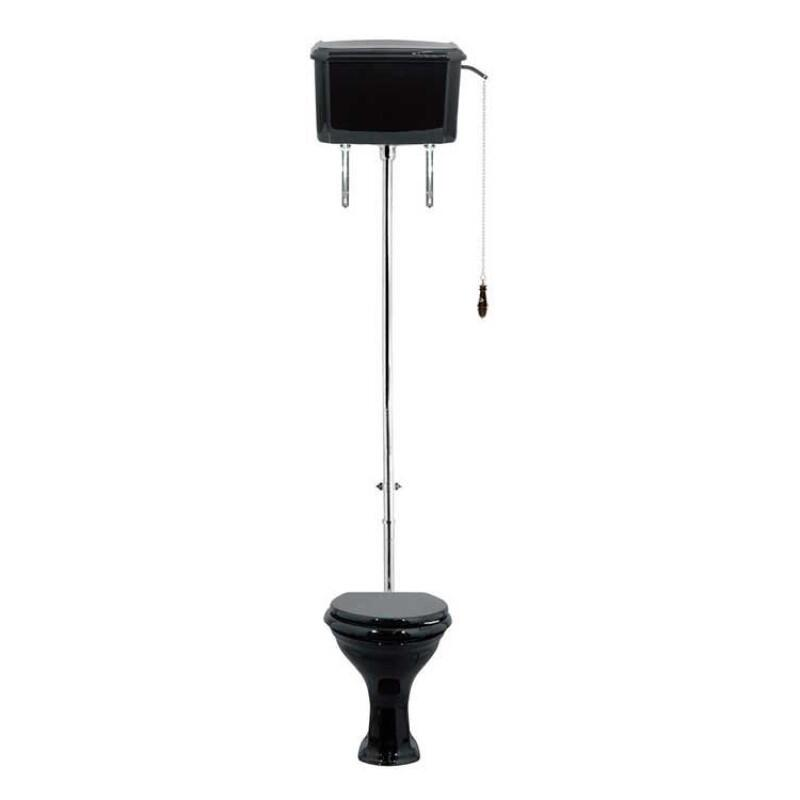 Drift High Level Cistern Black/Chrome with Pan Black  Seat wenge