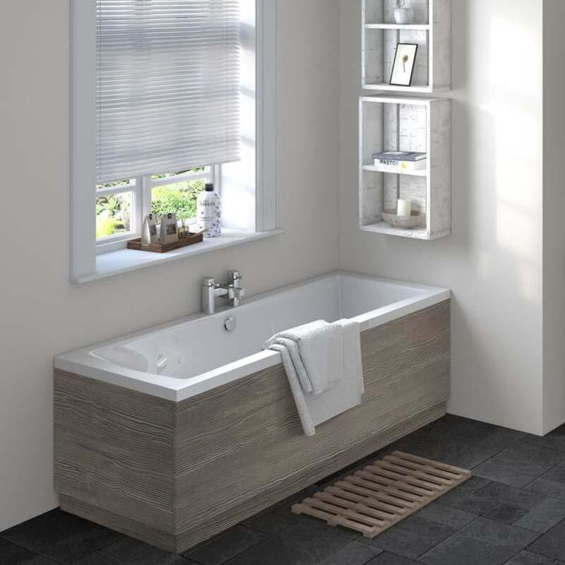 Grey Avola Straight Bath End Panel & Plinth 700