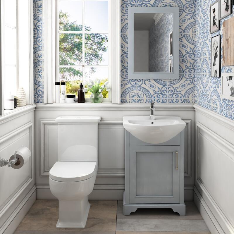 Old England 55 Dove grey Cloak room Bathroom Suite