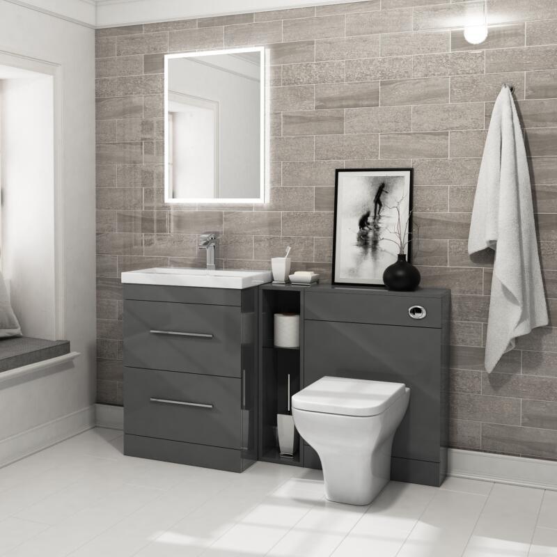 Patello 1400 Vanity Furniture Set Grey, Bathroom Vanity Sets