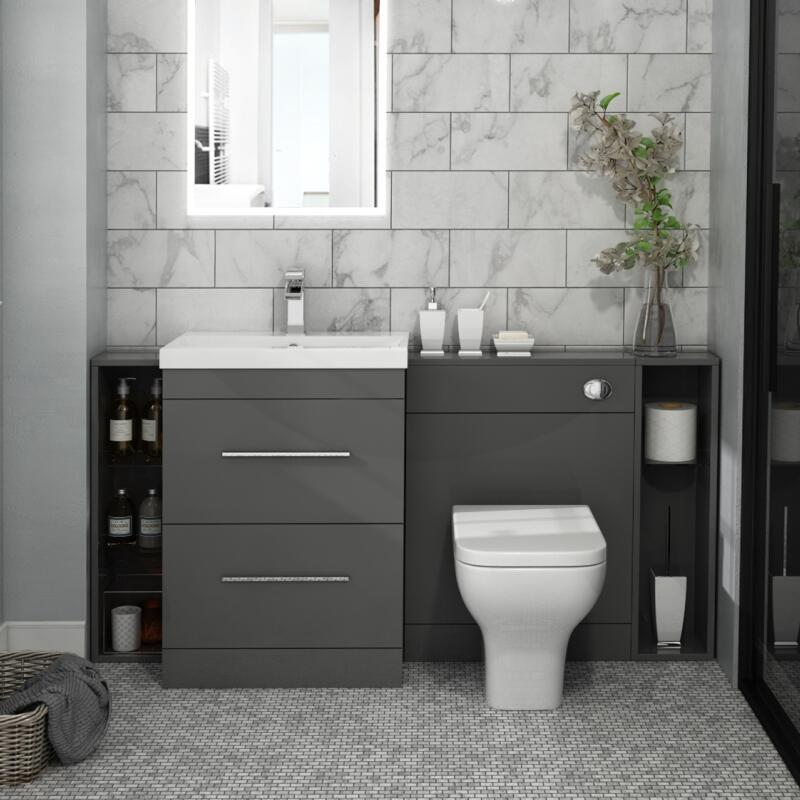 Patello 1600 Fitted Bathroom Furniture Grey