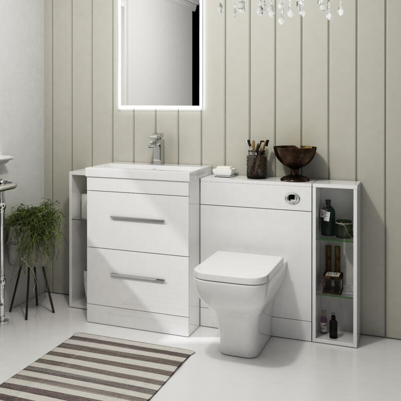 Patello 1600 Fitted Furniture Bathroon Vanity Set White