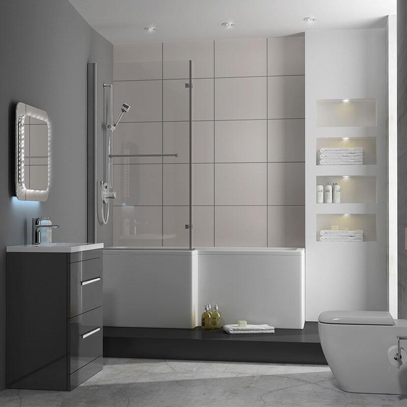 PATELLO 60 Grey UNIT RIGHT HAND SHOWER BATH