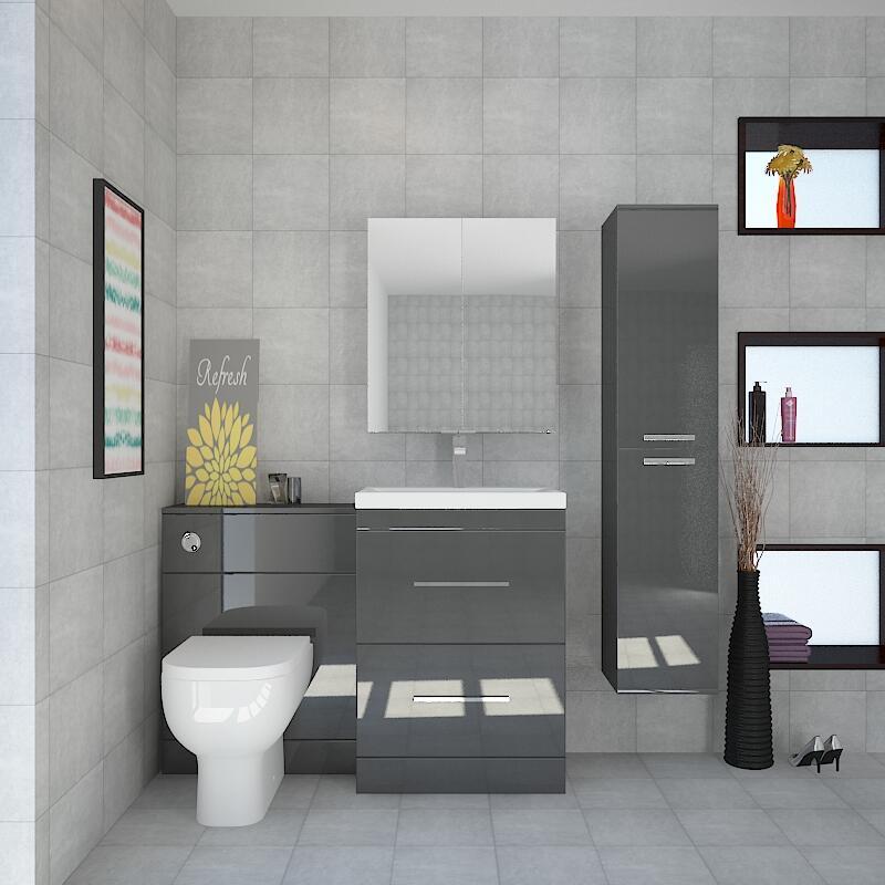 Patello White Bathroom Furniture Suite