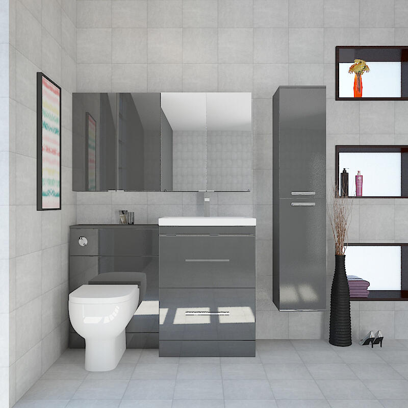 Bathroom Suite with Vanity Unit, BTW Toilet, Tall Boy, Wall Cabinet & Mirror Cabinet (White)