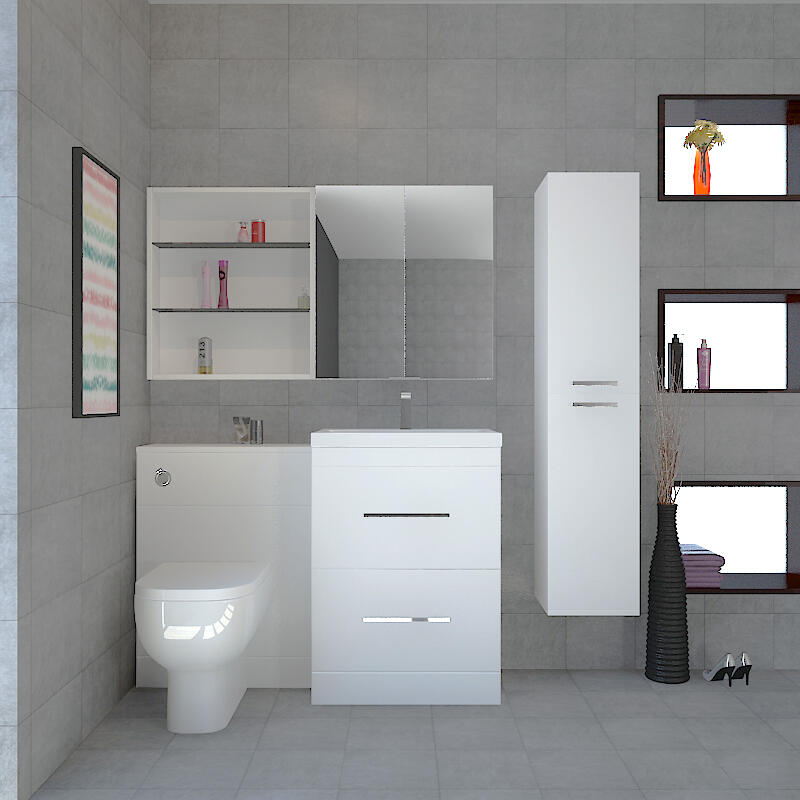 Patello Grey Anthrecite Bathrooom Furniture Suite with Mirror cabinet and shelf Storage