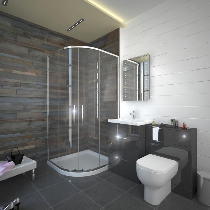 Patello Grey 800 Quadrent Shower suite