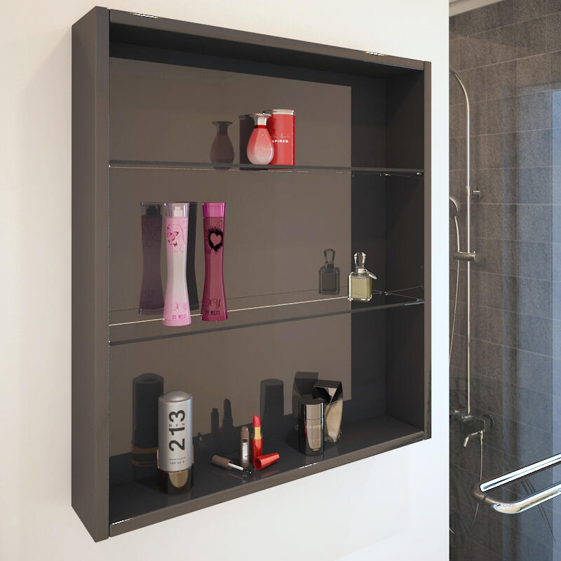 PATELLO GREY GLASS SHELF CABINET