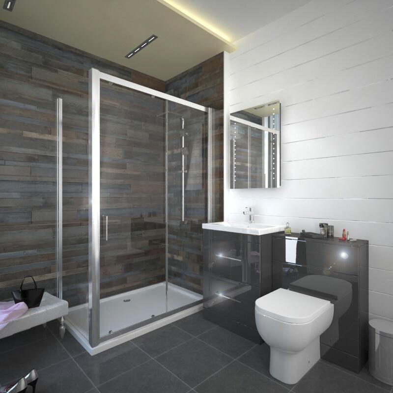 Patello Grey Sliding Door Shower suite