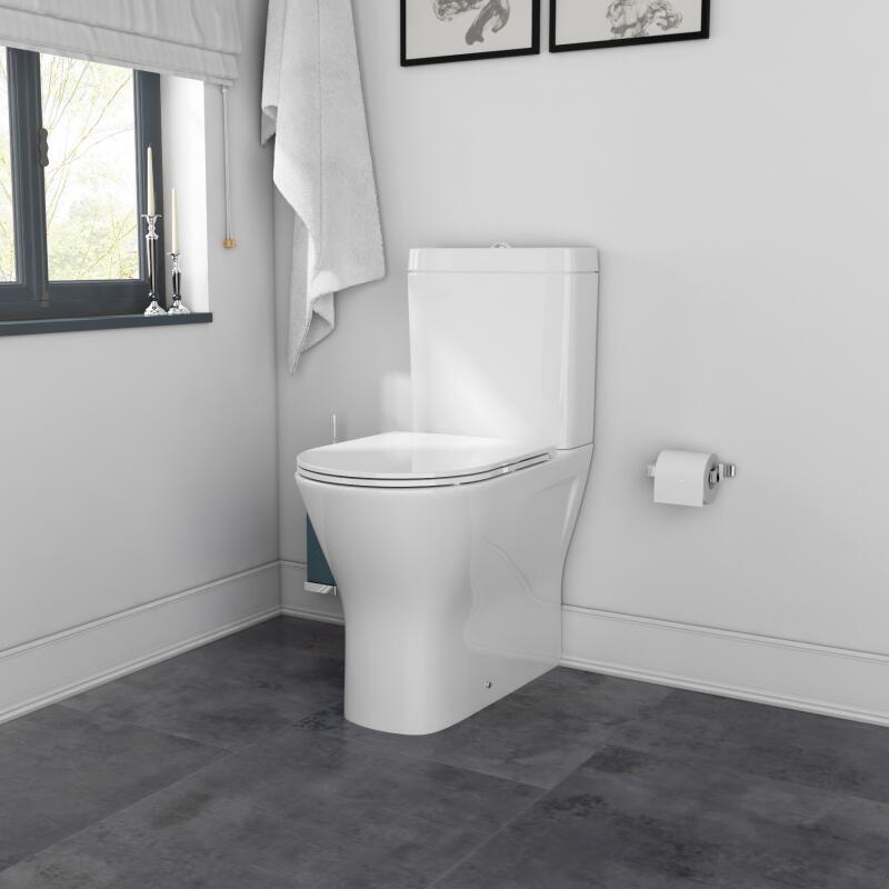 Patello Closed Back Toilet, Comfort Height, Rimless Closed Couple Toilet with Thin Seat
