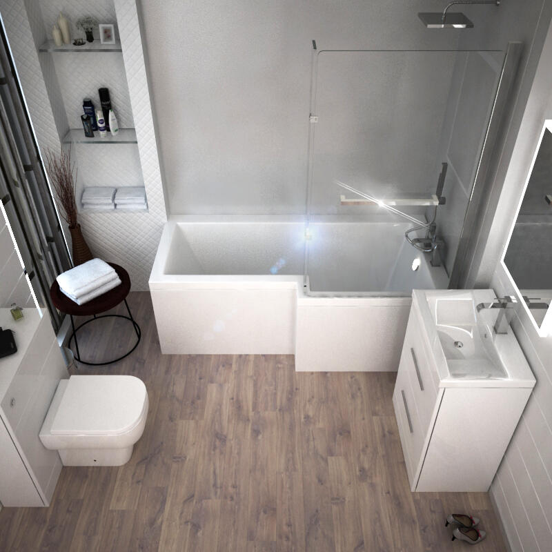 Patello White Shower Bath Suite LH
