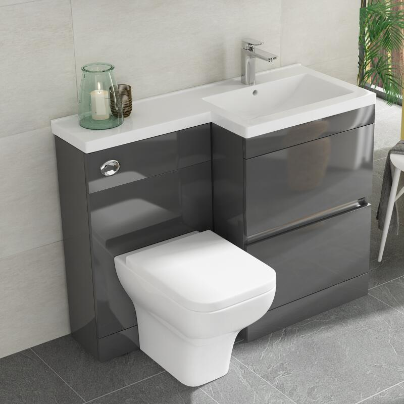 Compact Toilet and Basin Sink Set Small Cloakroom En Suite Square Dual Flush