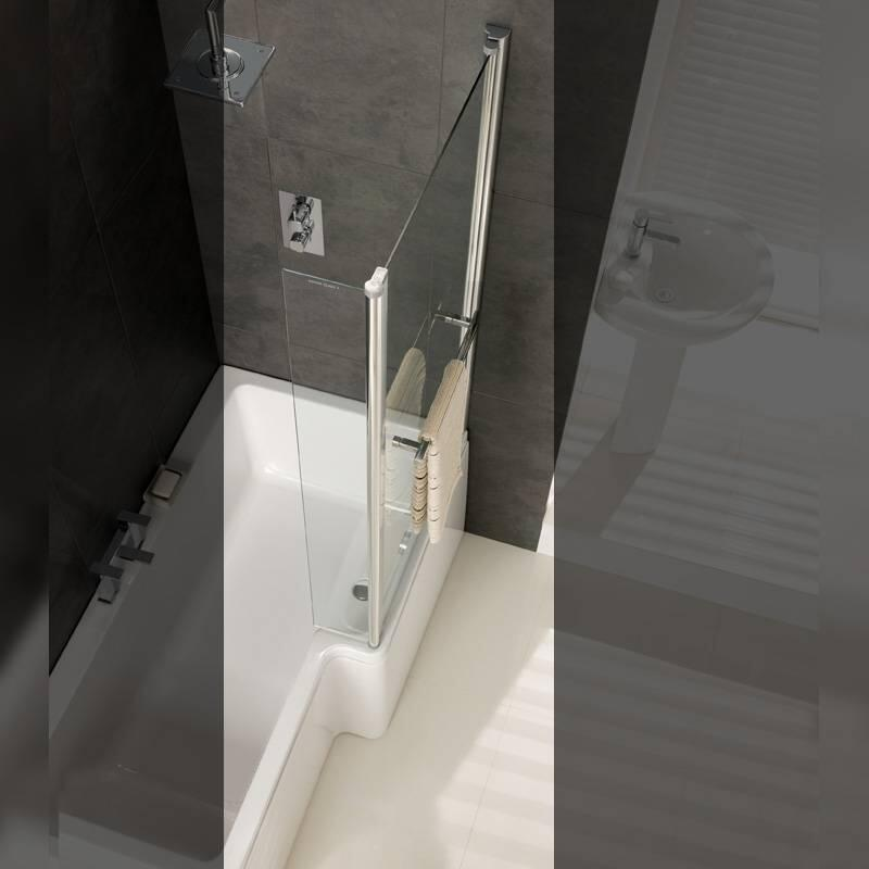 Quantum screen with towel rail Silver