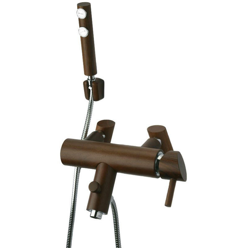 Robin Wooden Bath and Shower Mixer Tap with American Walnut Finish
