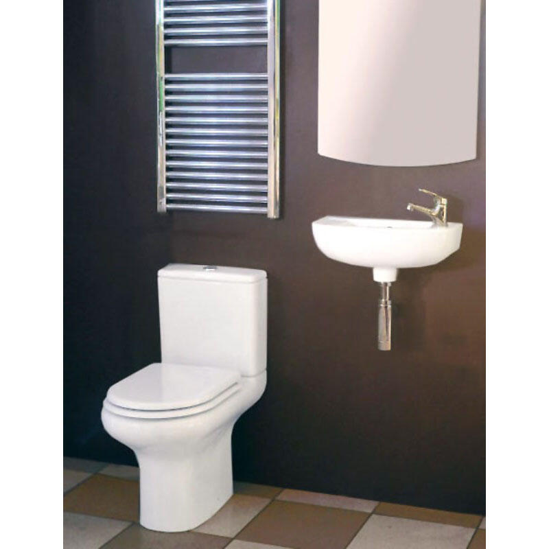 Slim Line Compact Cloakroom Basin with WC Pak & Soft Close Seat